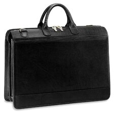 Triple Gusset Zip Top Briefcase in Brown