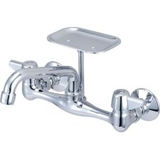 Wall Mount Faucet with Soap Dish and Double Canopy Handle