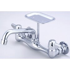 "Wall Mount Faucet with 8"" Centers and Soap Dish"