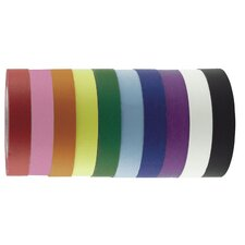 "1"" x 60 Yards 12 Pack of Assorted Color Kraft Tape Rolls"