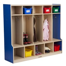 <strong>ECR4kids</strong> Colorful Essentials™ 5-Section Coat Locker with Bench