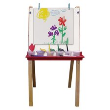 Hardwood Adjustable Floor Easel with Chalk and Dry-Erase Board