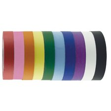 "1"" x 60 Yards 10 Pack of Assorted Color Kraft Tape Rolls"