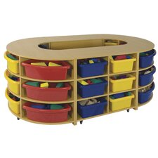 Four Piece Hollow High Storage Island 24 Compartment Cubby
