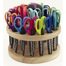 24 Piece Kraft Edger Scissors with Rotating Rack