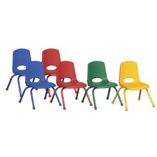 "12"" Plastic Stack Chair with Matching Painted Legs (Set of 6)"