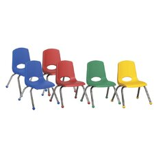 "12"" Plastic Stack Chair with Chrome Legs (Set of 6)"