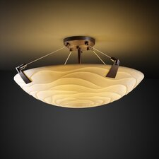 <strong>Justice Design Group</strong> Tapered Clips Porcelina 3 Light Semi Flush Mount