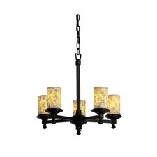 <strong>Justice Design Group</strong> Deco Alabaster Rocks 5 Light Chandelier