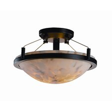 Ring Alabaster Rocks Round Semi Flush Mount