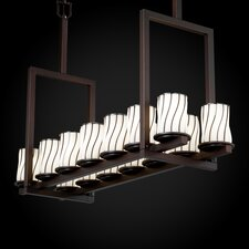 <strong>Justice Design Group</strong> Wire Glass Dakota 14 Light Bridge Tall Chandelier