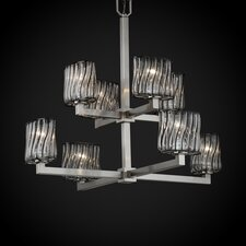 Wire Glass Modular 8 Light Chandelier