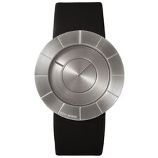 To Men's Watch with Black Rubber Band and Silver Case