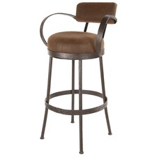 "Cedarvale 25"" Swivel Counter Height Barstool with Brown Seat"