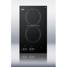 "12"" Two Burner Electric Cooktop in Black"
