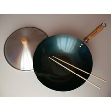 "3 Piece 12"" Preseasoned Flat Bottom Wok Set"