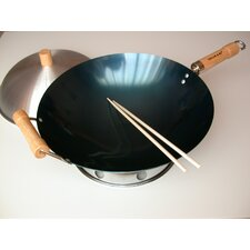 "4 Piece 14"" Preseasoned Round Bottom Wok Set"