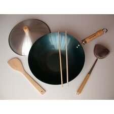 "<strong>Taylor & Ng</strong> 5 Piece 12"" Preseasoned Flat Bottom Wok Set"