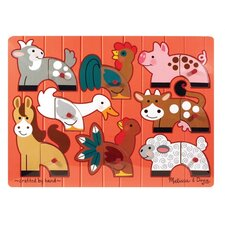 <strong>Melissa and Doug</strong> Farm Mix N' Match Wooden Peg Puzzle