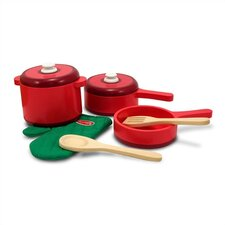 8 Piece Play Food Kitchen Pots and Pans Set