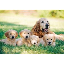 Golden Retriever with Puppies Cardboard Jigsaw Puzzle