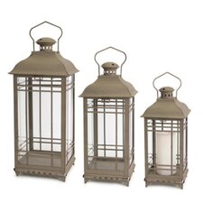 3 Piece Phat Tommy Metal and Glass Lantern Set