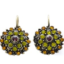 Artisans International Vintage Round Cut Peridot Drop Earrings