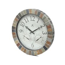 "Indoor/Outdoor 18""  Weather Clock With Slate Mosaic Border"