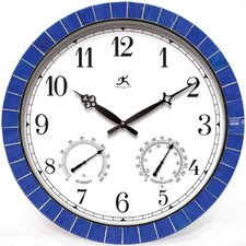 "Indoor/Outdoor 18""  Weather Clock With Blue Tile Border"