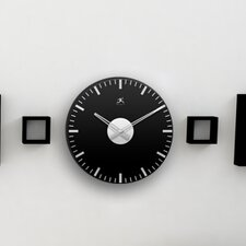 Black & Mirrored Glass Wall Clock