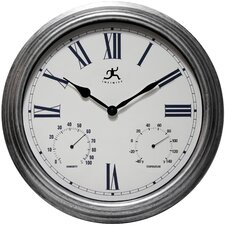 """Silo 16"""" Indoor and Outdoor Wall Clock with Thermometer and Hygrometer"""