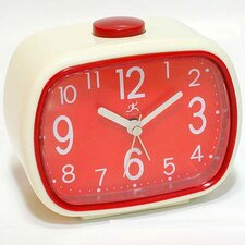 <strong>Infinity Instruments</strong> That 70's Retro Alarm Clock in Cream with Red Face