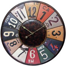 "Oversized 31"" Time Travels License Plate Wall Clock"
