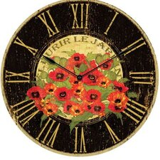 "24"" Le Jardin Poppy Wall Clock"