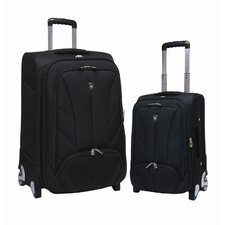 Monaco 2 Piece EVA Expandable EVA Set with Shoe / Accessory Pocket Luggage Set
