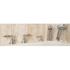 Two Handle Tub Filler with Personal  Hand Shower in Chrome