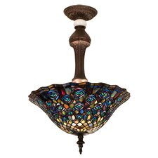 3 Light Tiffany Peacock Feather Semi Flush Mount