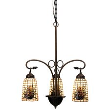 Victorian Lodge Tiffany Pine Barons 3 Light Chandelier