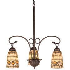 Victorian Tiffany Acorn 3 Light Chandelier