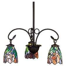 <strong>Meyda Tiffany</strong> Art Glass Iris 3 Light Chandelier
