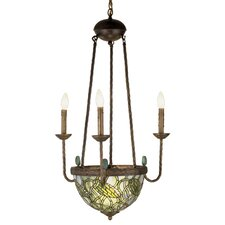 Tiffany Lotus Bud 5 Light 3 Arm Inverted Chandelier