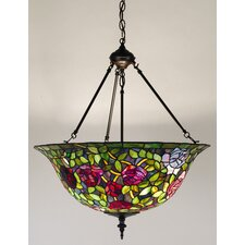 <strong>Meyda Tiffany</strong> Victorian Tiffany Rosebush 3 Light Inverted Pendant
