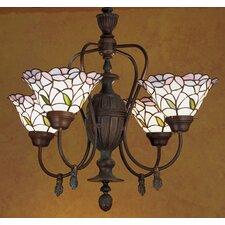 Victorian Tiffany Daffodil Bell 4 Light Chandelier