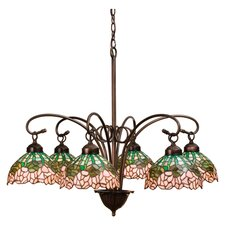 6 Light Tiffany Cabbage Rose Chandelier