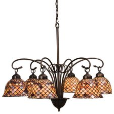 6 Light Tiffany Fishscale Chandelier