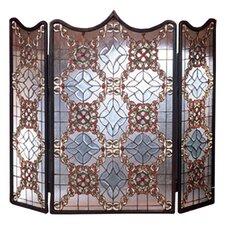 <strong>Meyda Tiffany</strong> Victorian Beveled 3 Panel Fireplace Screen