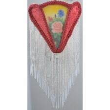 <strong>Meyda Tiffany</strong> Reverse Painted Roses Fabric with Fringe Night Light
