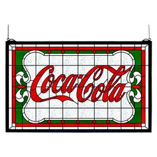 Victorian Tiffany Coca-Cola Nouveau Stained Glass Window