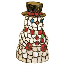 Snowman Tiffany Glass Accent Table Lamp