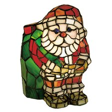 Santa Claus Tiffany Glass Accent Table Lamp